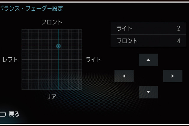 『DIATONE SOUND.NAVI』に搭載されている「バランス」と「フェーダー」の設定画面。