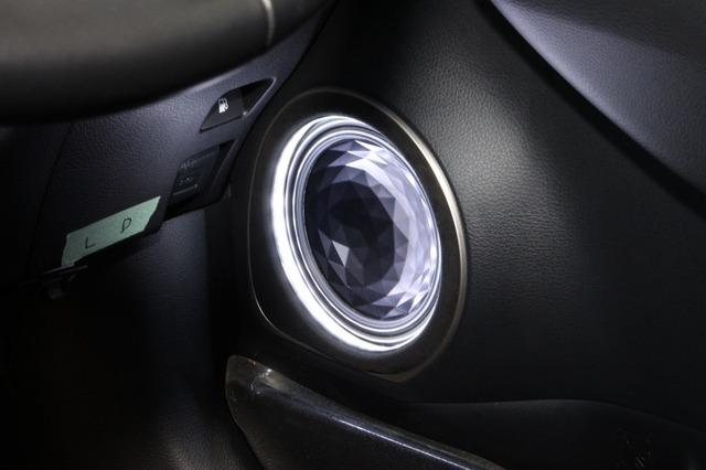 ミッドバスにはレインボーのユニットをチョイス。印象的な振動板デザインがインテリアのイメージを決定付けている。