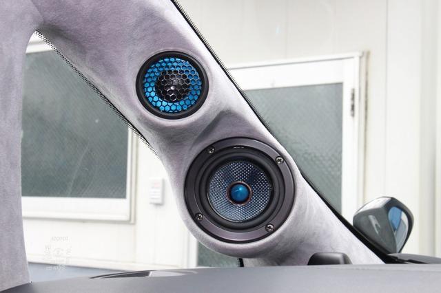 ブルームーンオーディオのスピーカーは振動板にも特徴があり、デザイン的なアクセントにもなっていることがよくわかる。