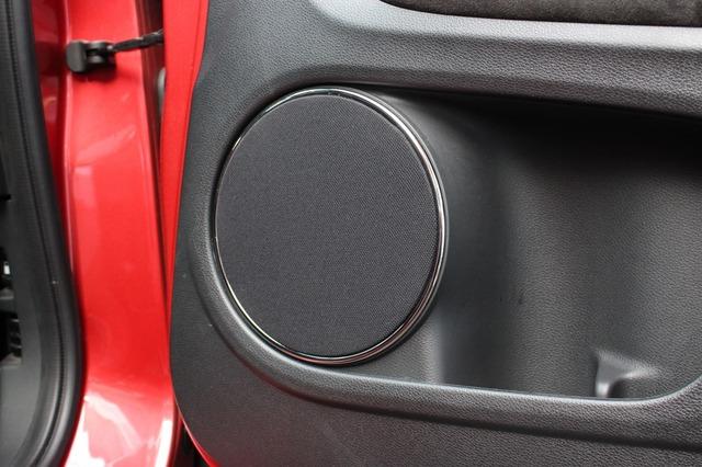 ユートピアMのミッドバスをインストールするドア。音抜けを最優先してグリル部はサランネットを使ったワンオフパーツだ。