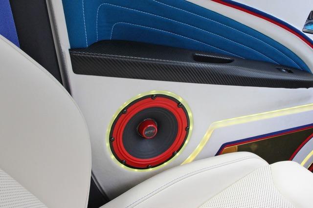 ドア後方にもサーウィンベガのミッドバスをビルトイン。シートとの干渉を避けたレイアウトで車内でも見せるデザインとしている。