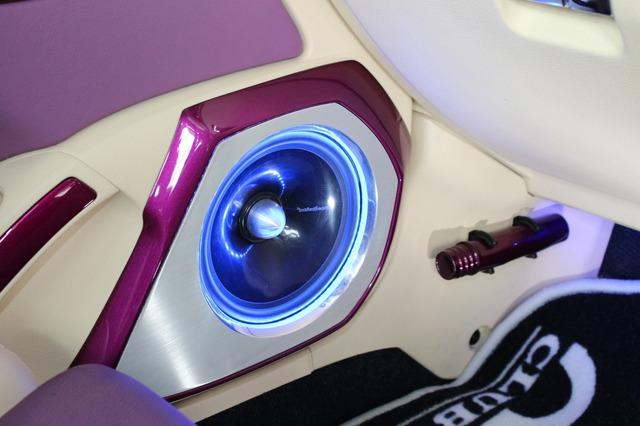ドアのアウターバッフルはテーマカラーのパープルを使ったデザインが印象的。バッフル面のヘアライン処理も美しい。