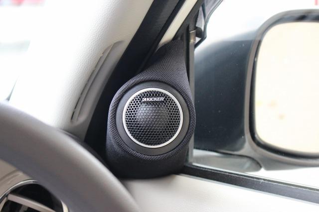 スマートなデザインで取り付けられているツイーター。ドアやピラーなどのデザインとマッチするシンプルな処理が施される。