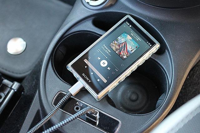 DAPも装備。定番のウォークマンを使って手持ちの曲を車内でも楽しめる環境を作る。