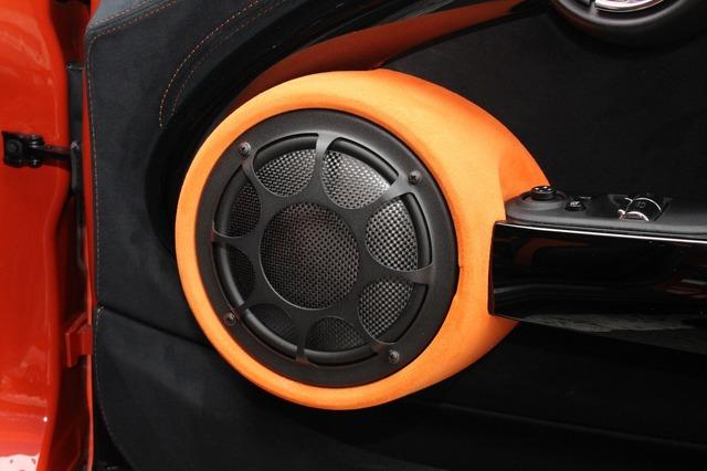 モレル・ヴィルタスnanoカーボンをインストールしたドア。丸みを帯びたスピーカーまわりの形状などもストックデザインを守る。