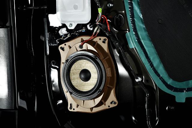 トヨタキット付属のメタルマウントで強固にスピーカーを固定している