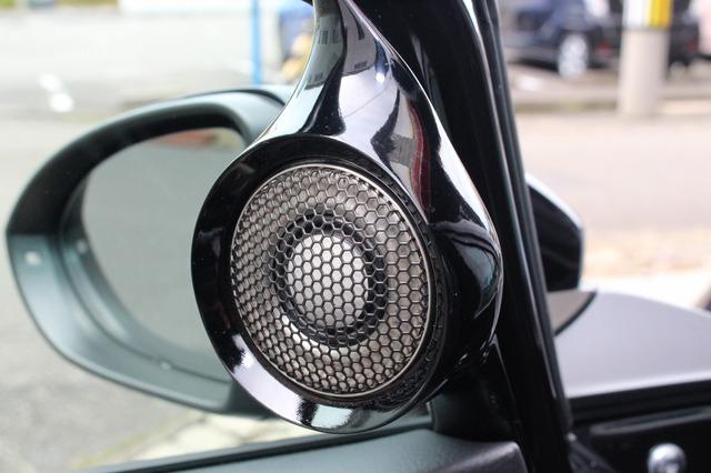 ドラミラー裏にはドア形状&ウインドウまわりの形状に合わせて異形のパネルを設置しブラックのツイーターをビルトインしている。